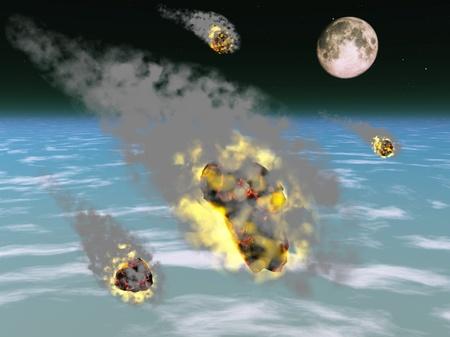 Meteor shower entering Earth atmosphere