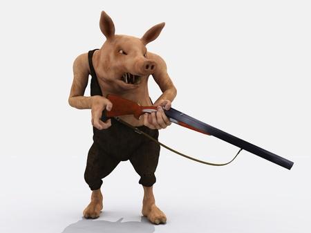 fusil de chasse: La figure de porc num�riquement rendu afficher la col�re l'un des sept p�ch�s capitaux