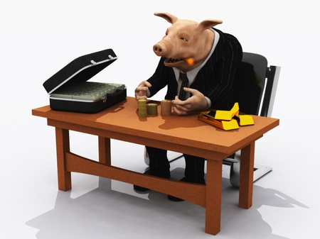 greedy: Pig in suit counts his wealth metaphor for greed