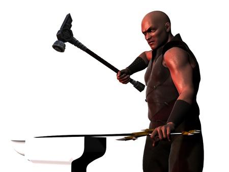 labouring: Sword smith forging a sword