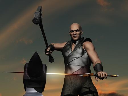 Sword smith forging a sword