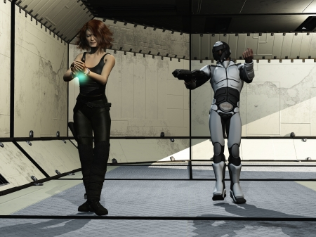 Sci-fi trooper escorts female prisoner photo