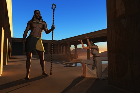 Ancient Egyptian slave girl bows to pharaoh at desert palace photo