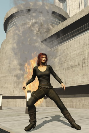 holster: Leather clad female spy prepares to draw her sidearm following explosion Stock Photo