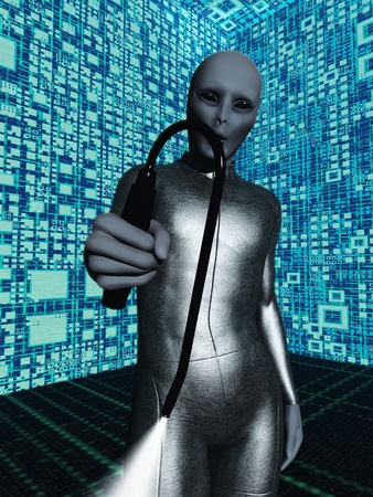 Humor based on tales told by abductees grey skinned alien with black eyes advances with probe to perform medical experiments Stock Photo - 13521092