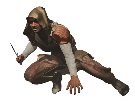 Fantasy hooded assassin crouching with dagger