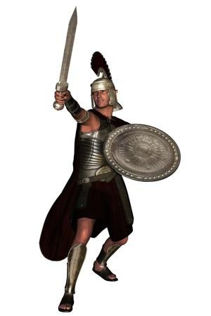 cascos romanos: Blindado soldado romano con espada y escudo Foto de archivo