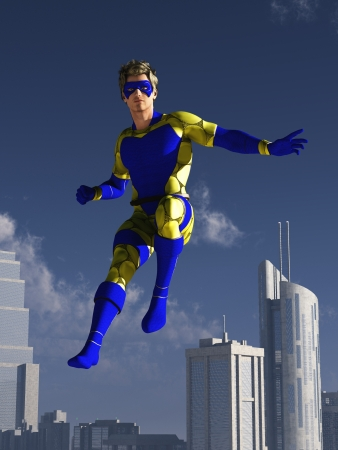 Masked superhero in blue and yellow costume descends towards the city