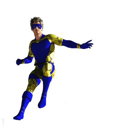 Masked superhero in blue and yellow costume isolated on white photo