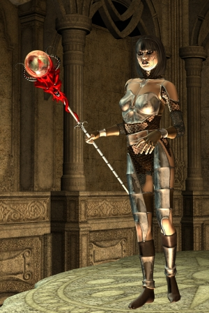 Fantasy armoured female with demon staff on temple platform Stock Photo