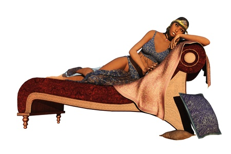 Fantasy dark skinned exotic queen reclining on couch