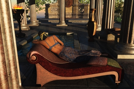 recline: Fantasy dark skinned exotic queen reclining on couch in luxurious palace