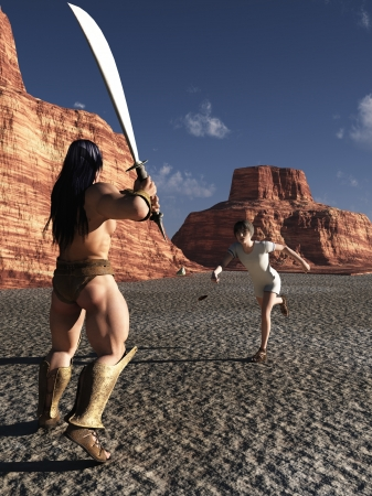 david and goliath: David using slingshot to throw the stone that defeats Goliath