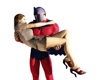 caped: Helmeted and caped superhero carrying woman