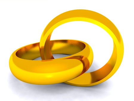 entwined: Marriage metaphor symbolised by entwined wedding rings
