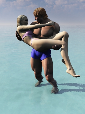 carrying girlfriend: Rendered image of boyfriend carrying girlfriend or lifeguard carrying someone he has saved Stock Photo