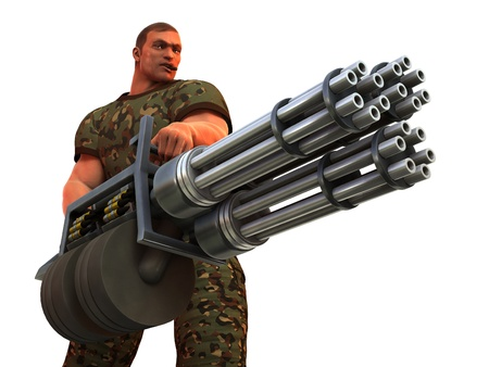 Digital render of cigar smoking fantasy soldier with huge Gatling gun style weapon 免版税图像