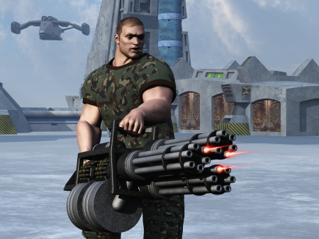 Digital render of cigar smoking fantasy soldier with huge Gatling gun style weapon with command centre and flying transport in background