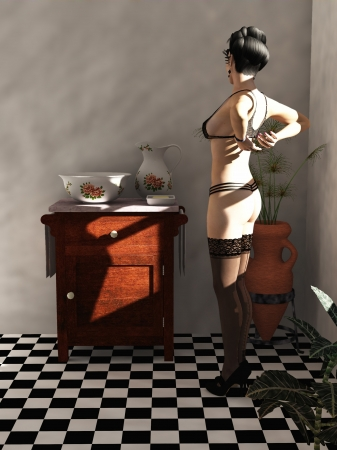 Digital render of woman undressing to wash at vintage washstand