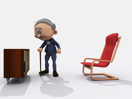 cane chair: Cartoon render of old man with cane going to switch on vintage TV