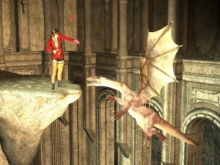 flying dragon: Rendered sorceress on high ledge casting spell on flying dragon