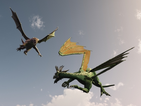 Dragon turns to meet attack from behind