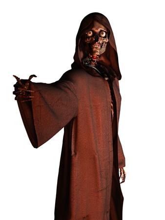 se�al de silencio: Figura esquel�tica muerte en t�nica con capucha haciendo el gesto de se�as