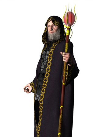 robe: Elderly bearded wizard in hooded robe holding staff