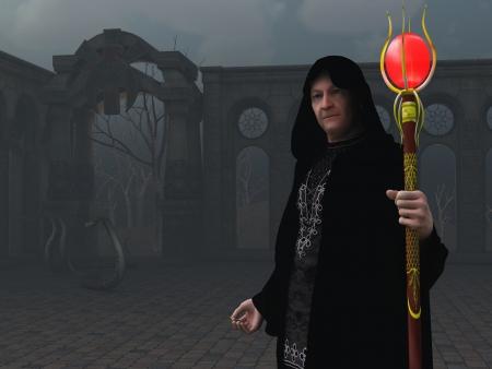 merlin: Dictada la imagen de mago en el patio abandonado con las serpientes y tel�n de fondo de los �rboles muertos Foto de archivo