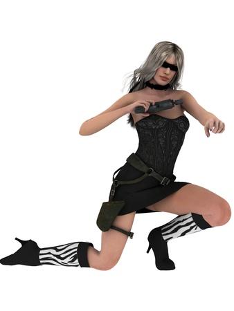Female spy with gun and dark glasses Stock Photo - 14032763