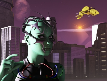 Green skinned female cyborg figure against city lit by two suns photo
