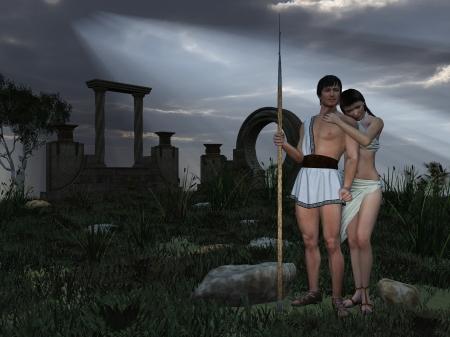 toga: Antiguo dios griego y figuras de las diosas cerca del templo