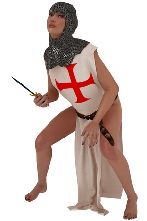 coif: Woman in templar tabard and armoured coif holding a dagger Stock Photo