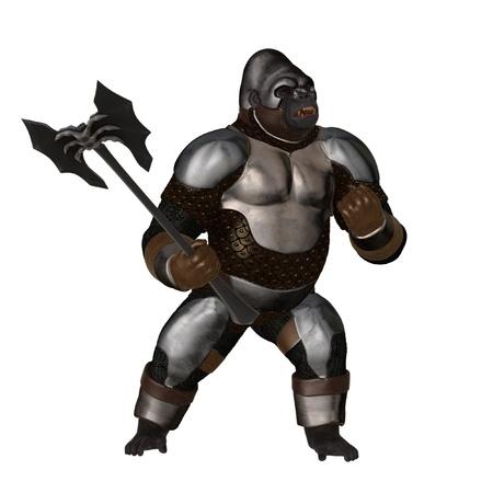 bared teeth: Fully armoured fantasy gorilla warrior with battleaxe Stock Photo