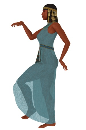 Rendered profile view of woman in ancient Egyptian dress in hieroglyphic pose