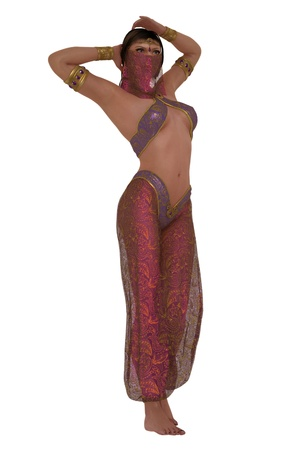 arabian harem: Rendered woman in Arabian nights harem costume with veil