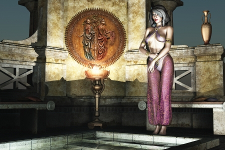 arabian harem: Woman in Arabian nights harem clothing stand before the steps of a bath in ornate place  Stock Photo