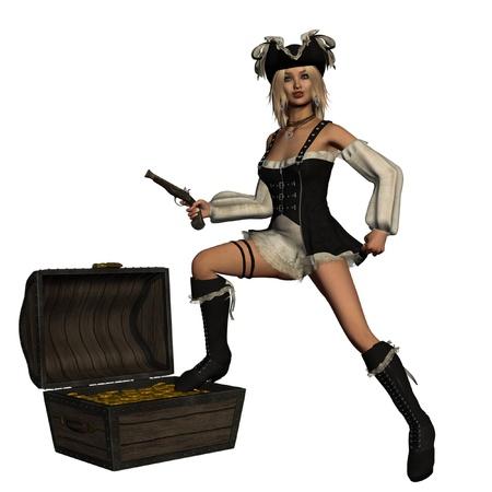 mujer pirata: Dictada la imagen de la chica rubia en ropa pirata con la fantas�a abierto cofre del tesoro Foto de archivo