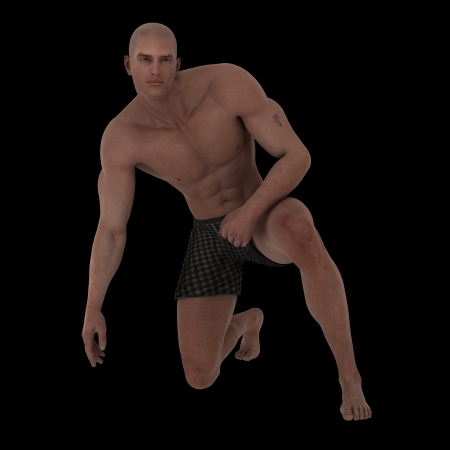 kneeling man: Rendered image of muscular male model kneeling in boxer shorts