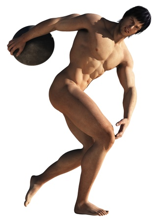 Rendered illustration of competitor in ancient olympic games with stone discus depicted nude as was the practice Stock Illustration - 14404971