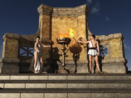 toga: Flame ha connotazioni sacre per gli antichi greci, che credono che era stato rubato da Prometeo da Zeus Una fiamma � proseguito il costante presso il santuario di Hestia e durante eventi come i giochi antichi Archivio Fotografico