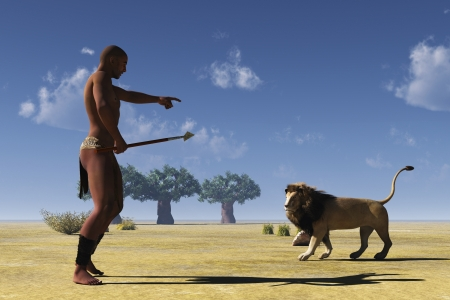 disinterested: Rendered image of African tribal hunter encountering passing disinterested lion Stock Photo