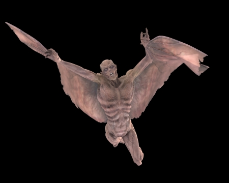 3d vampire: Cadaverous winged vampire swooping downwards Stock Photo