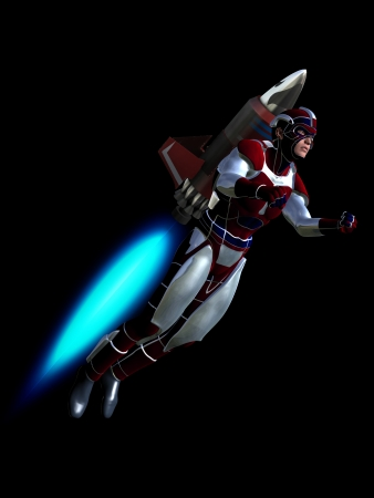scifi: Rendered illustration depicting hero using rocket pack to fly