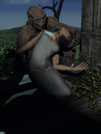 Vampire with bloody mouth feeding from girl in diaphanous nightgown on grave photo