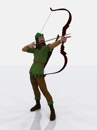 Digital render of the famous English outlaw, Robin Hood, taking aim with bow and arrow
