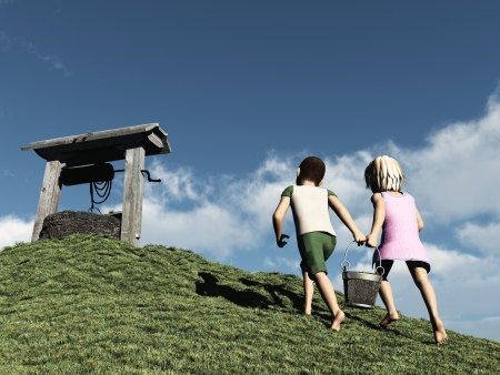 Jack and Jill went up the hill to fetch a pail of water  Digital render of child s nursery rhyme  Stock Photo