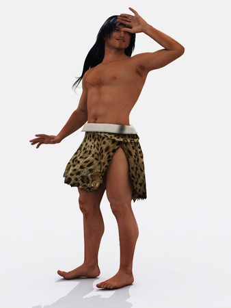 tarzan: Digital render of smiling caveman   aboriginal figure or even Tarzan
