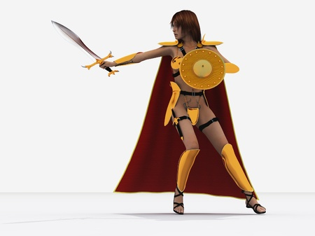 Red haired and freckled female warrior in bronze armour based on Boudicea who led a revolt against the Romans in Britain Stock Photo - 14648435