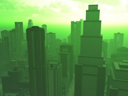 noxious: Rendered cityscape shrouded in noxious green smog